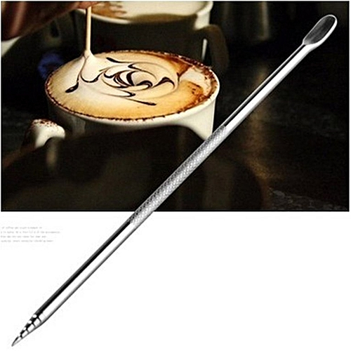 Stainless Steel Coffee Carved Stick Needle Fancy Drawing Tool Silver