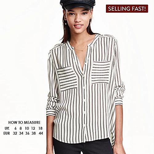 Striped V-Neck Blouse - White/Black