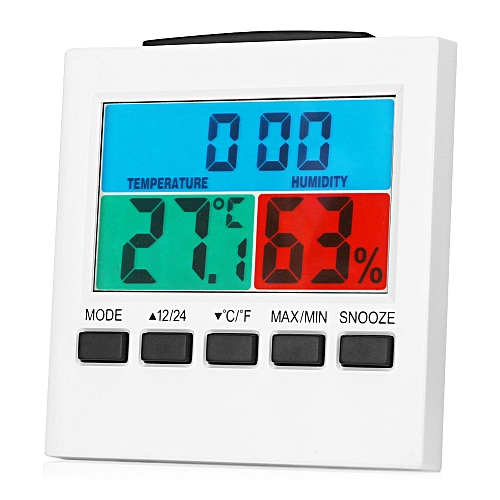 Digital Thermometer Hygrometer Desk Clock Snooze Function LED Backlight - White