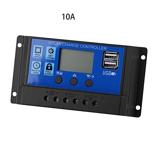 Solar Charge Controller Display Dual USB Solar Charger Photovoltaic LED Black 10A