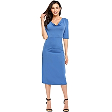 f17187d4fce United States ANGVNS Women  039 s Cowl Collar Half Sleeve Side Draped Solid  Midi