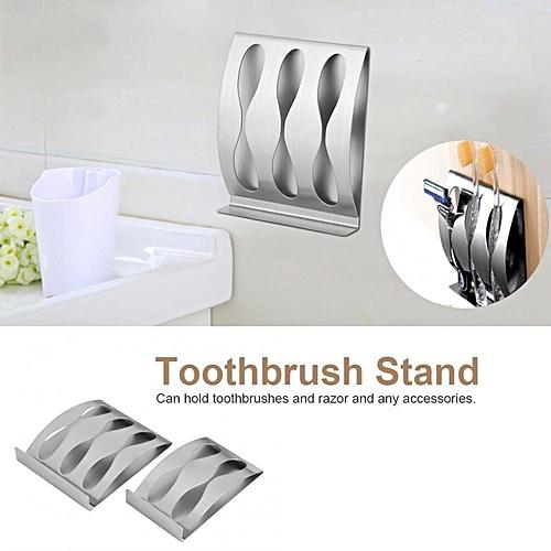 Stainless Steel Toothbrush Razor Holder Strand Mount Bathroom Accessories Organizer Three Holes