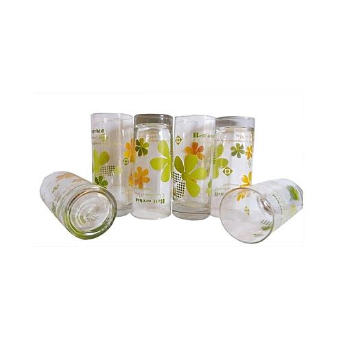 Flower Pattern Glass Cup Set -6pcs