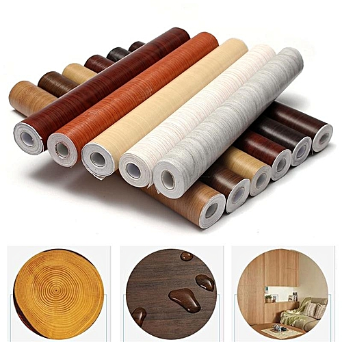 2PCS Wall Wood Grain Mural Decal Self Adhesive PVC Wallpaper Film Sticker Decor 10M Bronze