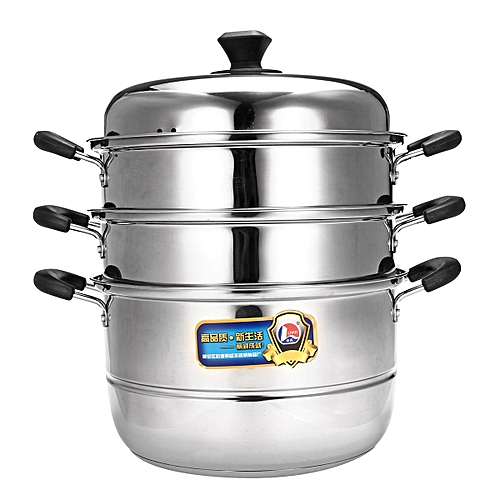 CONCORD Stainless Steel 3 Tier Steamer Steam Pot Cookware Avail In 5 Sizes [28cm]