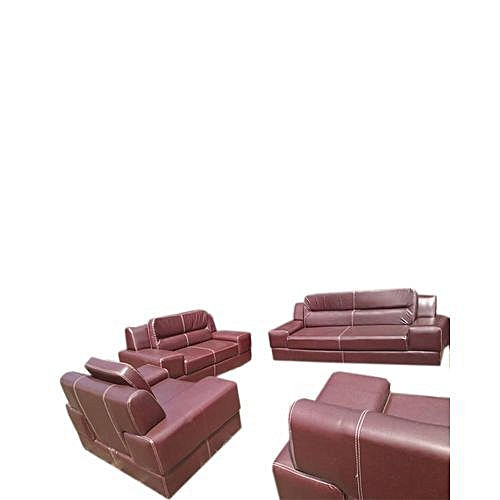 Fetwan Brown 7 Seater Leather Sofa (Lagos Only Delivery)