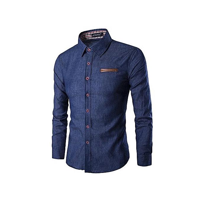 7aa9bb7b12c Fashion Spring And Autumn Style Men Cotton Denim Shirts Casual Long Sleeve  Men s Jeans Blue Shirt-darkblue