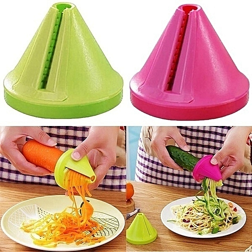 Fashion Kitchen Gadget Funnel Vegetable Carrot Radish Cutter Shred Slicer Spiral Device-2 Pcs