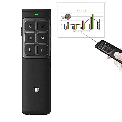 Doosl DSIT014 2.4GHz Rechargeable Edition PowerPoint Presentation Remote Control Multi-functional Laser Pointer With Electronic Mark Mark Clear Volume Adjust Function For PowerPoint / Keynote / Prezi, Control Distance: 100m(Black)