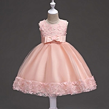 3a3c36cc56e50 New Baby Girls Kids Sleeveless Lace Flower Bowknot Wedding Princess Party  Dress - Peach