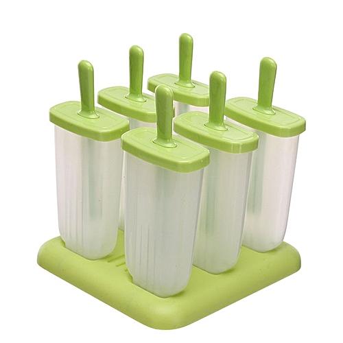 6 PCS/Set Kitchen Popsicle Mould Ice Cream DIY Mold Ice Cube Box - Green
