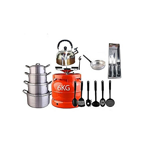 Economy Kitchen Bundle - 6kg Gas Cylinder + 4 Pots + 1 Kettle + 1 Frying Pan + 1 Set Of Non-stick Frying Spoons + 1 Small Knife + 1 Set Of Table Spoons