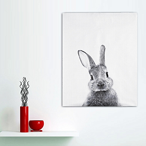 Modern Cute Rabbit Canvas Painting Wall Picture Art Print Poster Room Home Decor-Black + White