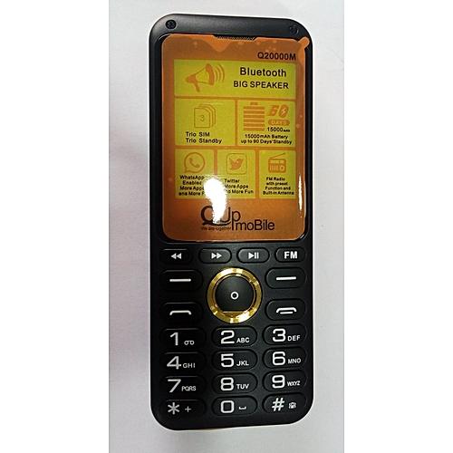 Q20000 Mini, Triple Sim Phone, Voice Changer, Power Bank , Dual Big Torch Light, Big Speaker, Battery 20000mAH, Long Lasting Battery. Black