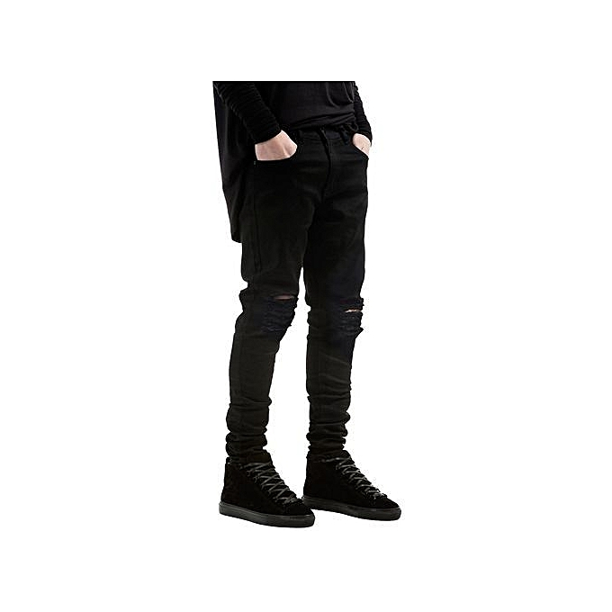 241e728cb4a ... 2017 New Black Ripped Jeans Men With Holes Super Skinny Famous Designer  Brand Slim Fit Destroyed ...