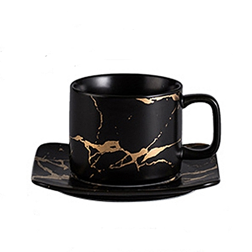 Ceramic Coffee Cup And Saucer-Black ,Golden Design 280ml
