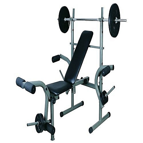 Standard Weight Bench With 50kg Weight Set Inclusive With Lifting Bar.  Universal