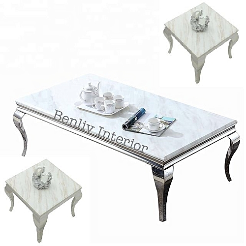 Marble Center Coffee Table With 2 Side Tables (Lagos Delivery Only)