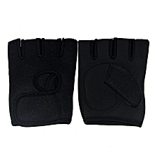 UJ Cycling Rubber Anti-Slip Half Finger Fitness Gloves Weight Lifting-black