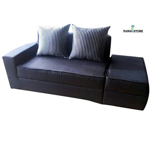 One Arm 2 Seater Sofa With Ottoman-Black And Ash (Delivery To Lagos Only)