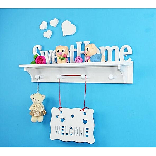 Storage Holder Sweet Home White Partition Wall Shelf Wooden Coat Rack Hooks