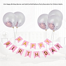 Happy Birthday Banner And 12in Gold Confetti Balloons Party Decoration For Children Adults