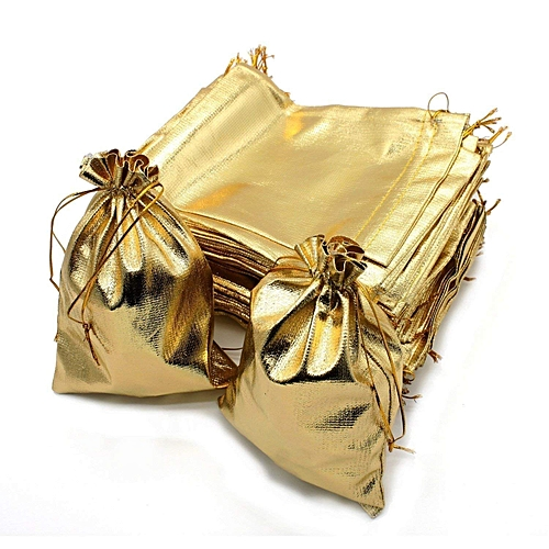 """100pcs Silver/Gold Drawstring Bag Wedding Party Favour Gift Candy Bag Jewlery Pouch Package Bag, 5.5""""x7.9""""/ 14x20cm"""