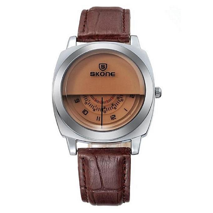 Skone Unique Dial Movement Leather Wrist Watch br9244 - Brown