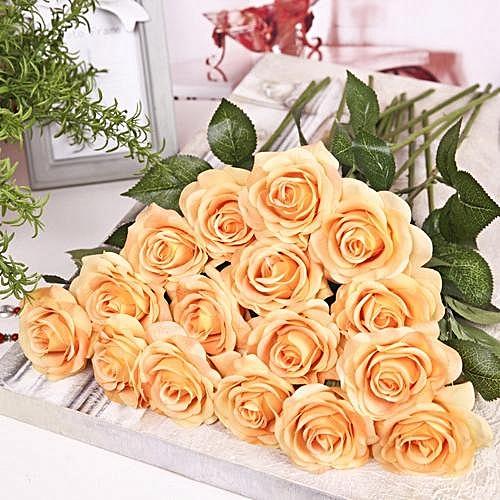 Rose Artificial Flower Single Branch Fake Flower For Home Decoration Wedding Moistening Silk Roses