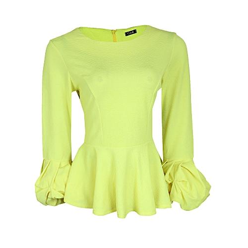 Puff Sleeve Peplum Top - Yellow