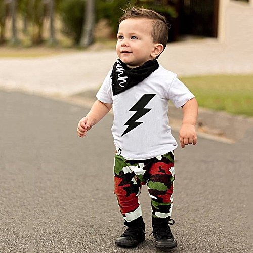 28fa3c27015c6 Fashion Baby Outfit Toddler Kids Baby Boy Clothes Set T Shirt  Tops+Camouflage Pants Outfits Clothes -White