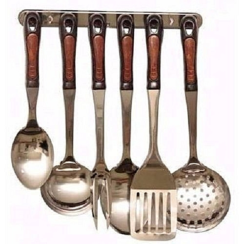 6pcs Cooking Spoon Set With Wall Hanger