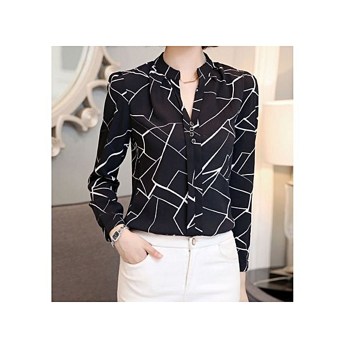 851b110c04650e Chiffon Shirt Fashion Women Office Formal Patterned Sexy Long Sleeve Shirt  - Black