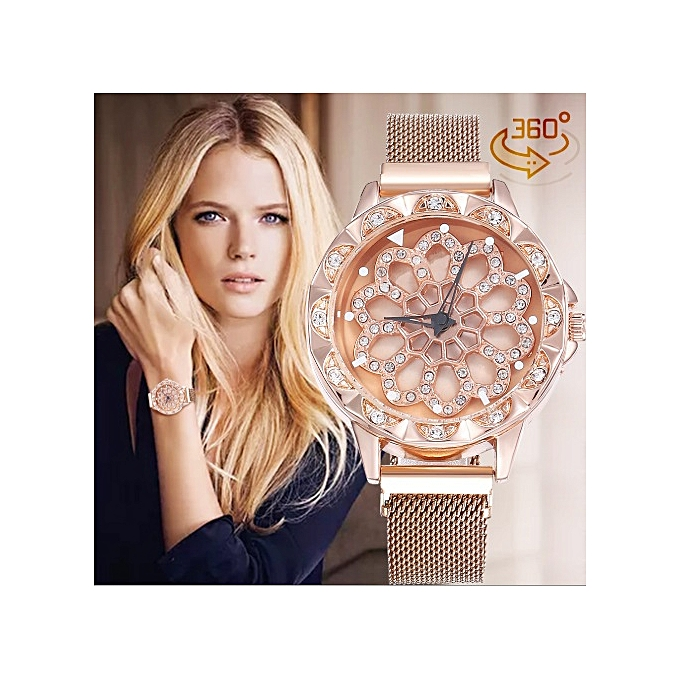 Women Rose-Gold Rotating Wristwatch