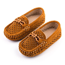 3fb79de84 Baby Breathable Soft Sole Genuine Leather Bean Shoes -Tan