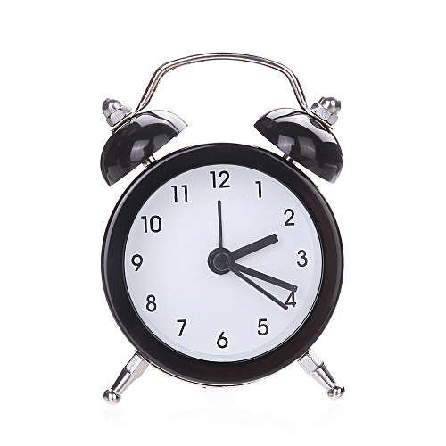 Twin Bell Silent Alloy Stainless Metal Alarm Clock