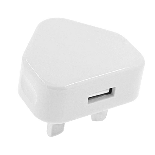 OR UK Plug 3 Pin USB Adapter Charger Power For Phones Tablet Chargeable-White-UK Plug