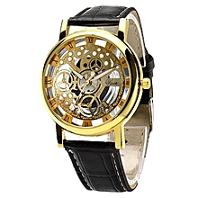 Skeleton Watch With Gold Dial - Black