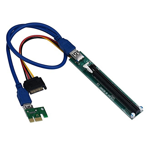 100% New PCI-E Express 1X To 16X Extender Riser Adapter Card With Molex 60CM USB Cable