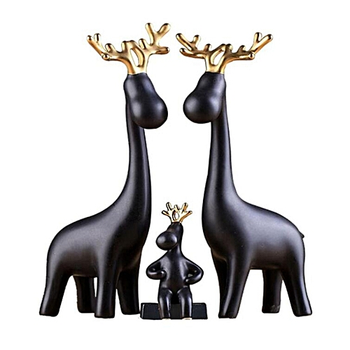3Pcs Golden Horn Deer Home Jewelry Decoration Ceramic Ornament Wedding Gifts