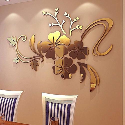Skywolfeye 3D Mirror Floral Art Removable Wall Sticker Acrylic Mural Decal  Home Room Decor Gold