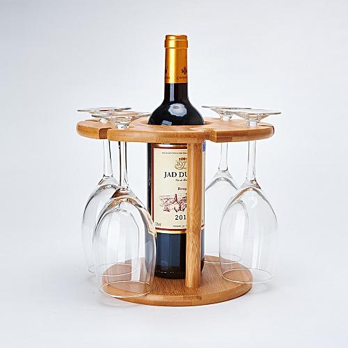 Wine Rack Bamboo Wine Cup Holder 6Holes Fashion Goblet Rack Bar Decoration Creative Cup Storage Holder Kitchenware Wine Set