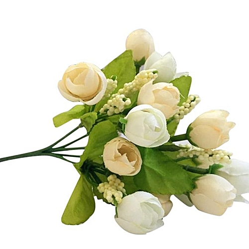 Dtrestocy 15 Heads Artificial Rose Silk Fake Flower Leaf Home Decor Bridal Bouquet White