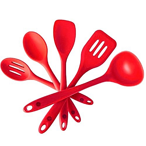 Cooking Utensils Spatulas Spoon Ladle Nonsticky Red 1 Set Bakery Salad