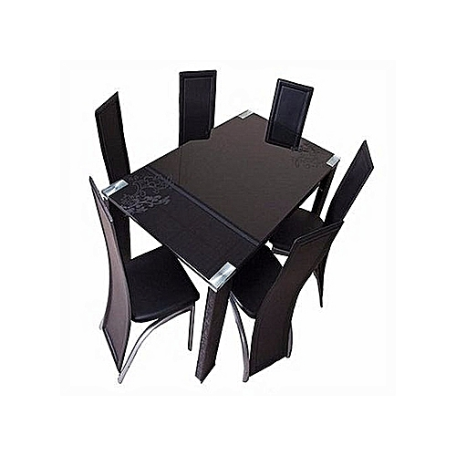 Handy's Glass Dining Table Set + 6 Chairs (Delivery Within Lagos Only)