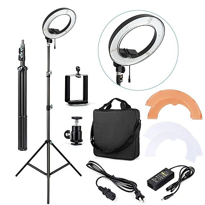 Ring Light 48cm LED 18 Inches Universal Dimmable Ring Light With Stand + Holder + Adapter + Phone Holder