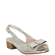 7df2171d7971ff Girls Low Heel Sling Back Peep-Toe Patent Sandals -Silver