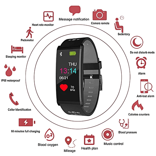 Fitness Tracker, Smartwatch With Blood Pressure& Heart Rate Monitor Support Android And IOS, Health Sport Watch Pedometer For Kids Women Men