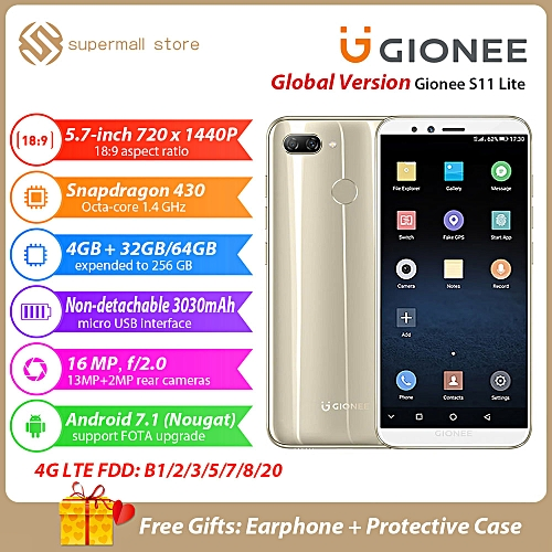 S11 Lite 5.7-Inch HD 18:9 Full Screen (4GB,32GB ROM) Android 7.1 Nougat, (13MP + 2MP) + 16MP, Hybrid Dual SIM 4G LTE Fingerprint ID Smartphone - Gold