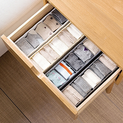 5 Grids Wardrobe Storage Box Basket Organizer Women Men Socks Bra Underwear Storage Box Plastic Container Organizer - White